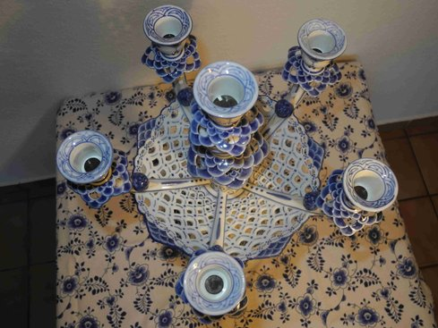 Blue Fluted Full Lace Candle Holder