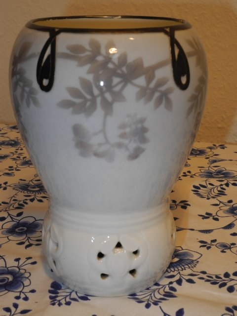 Floral vase with silver mount