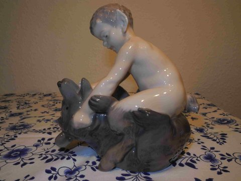 Faun with bear wrestling